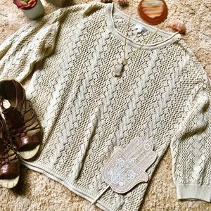 {Charming Charlie} Lightweight Cream Knit Sweater